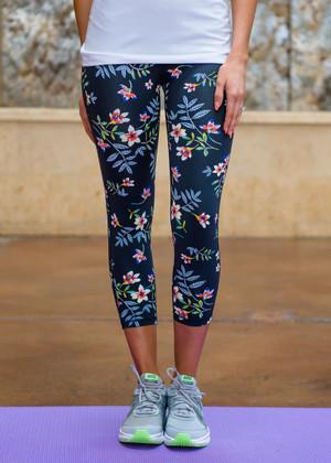 Cherry Blossoms Capri Workout Leggings