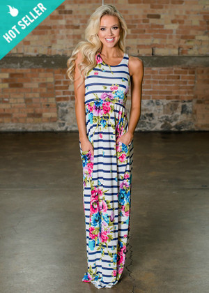 True Floral Romance Striped Maxi White/Navy