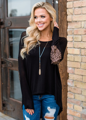 Sparkly Shine Elbow Patch High Low Sheer Top Black