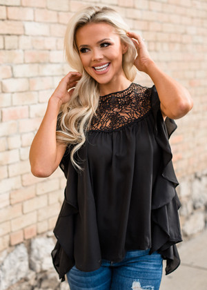 Amazing Lace Crochet Detailed Ruffle Top Black