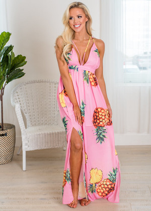 Sipping on Pineapple Juice in Hawaii Maxi Pink