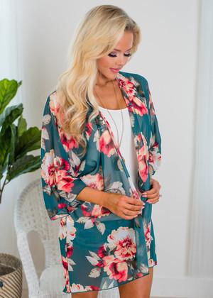 Beautiful Sheer Chiffon Floral Kimono Teal