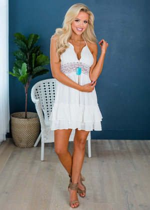 Beautifully Draped Ruffle Lace Crochet Halter Dress Ivory