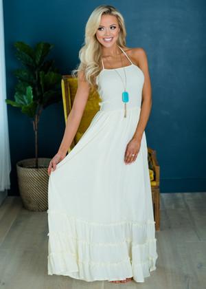 Summer Dances Ruffle Bottom Halter Maxi Dress Ivory