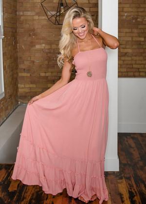 Summer Dances Ruffle Bottom Halter Maxi Dress Pink