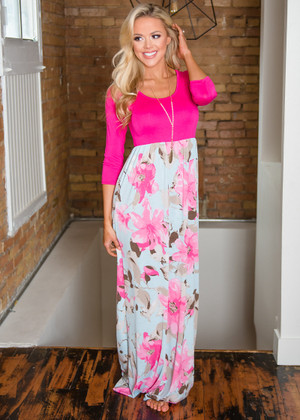 Not Just An Illusion Floral Maxi Dress Hot Pink