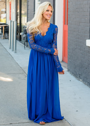 From Now On Lace Scalloped Chiffon Maxi Royal Blue