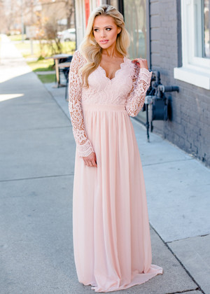 From Now On Lace Scalloped Chiffon Open Back Maxi Blush