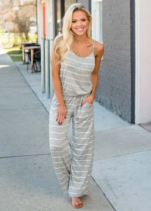 Casually Chic Striped Tie Jumpsuit Gray