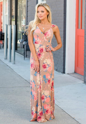 Take Me Higher Floral Wrap Maxi Dress Mocha CLEARANCE