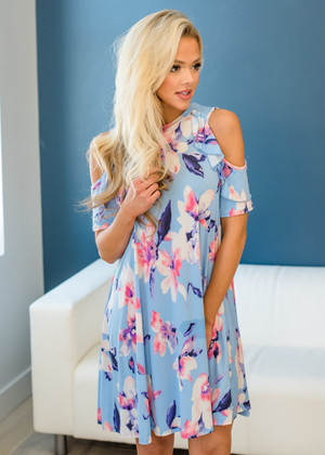 Fancy Frills Peek a Boo Shoulder Floral Swing Dress Blue