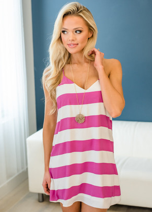 Impossible Striped Spaghetti Tank Shift Dress Magenta