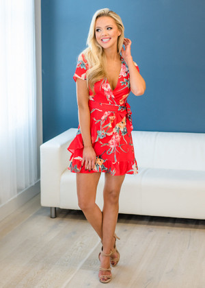 In The Summertime Floral Wrap Short Sleeve Dress Red