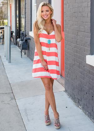 Impossible Striped Spaghetti Tank Shift Dress Coral