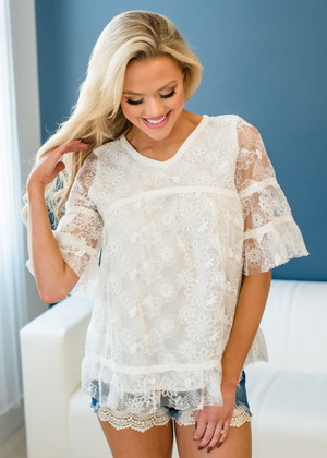 Crochet Lace Floral Ruffle Mid Sleeve Top Ivory