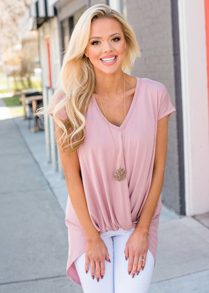 Sleeveless Cupro Knotted Hem High Low Top Mauve