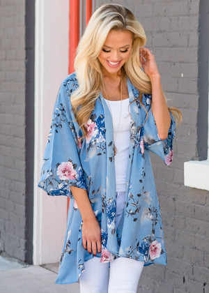 Thinking About You Sheer Floral Kimono Blue