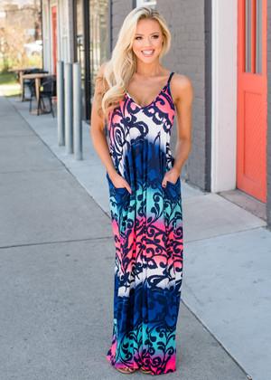 Ombre Skies Color Block Pocket Maxi Dress