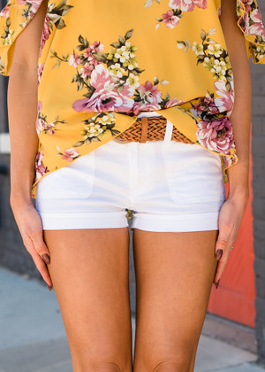 Adorable Cotton Twill Braided Belted Shorts White