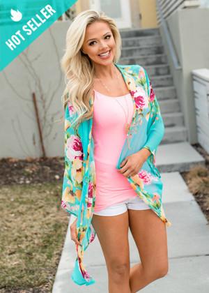 Floral Pretties Belle Sleeved Chiffon Sheer Kimono Turquoise