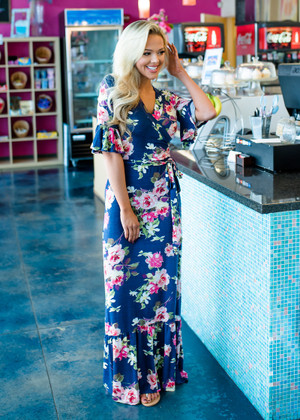 I Won't Fall Floral Ruffle Wrap Maxi Dress Navy