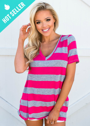 Keep Me Casual Striped Basic Top Gray/Hot Pink