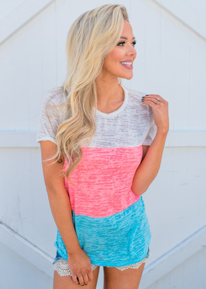 Burnout Color Block Top Aqua/Neon Pink