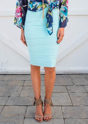 State of Perfection Scrunchy Pencil Skirt Light Aqua