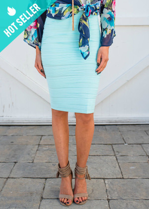 State of Perfection Scrunchy Pencil Skirt Light Aqua CLEARANCE