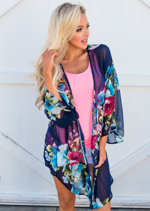 Floral Pretties Belle Sleeved Chiffon Sheer Kimono Navy