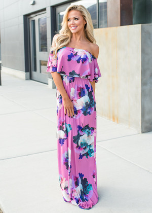 Weekend Walks Floral Ruffle Off Shoulder Maxi Dress Pink
