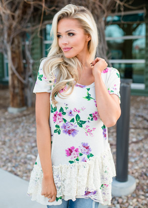 Lacey Double Ruffles Floral Top Ivory