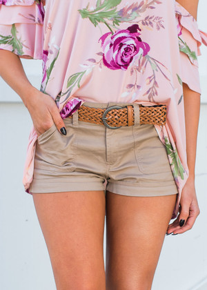 Adorable Cotton Twill Braided Belted Shorts Tan
