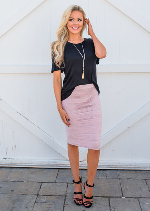 State of Perfection Scrunchy Pencil Skirt Lt Lavender