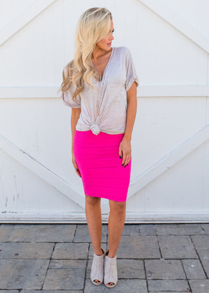 State of Perfection Scrunchy Pencil Skirt Fuchsia