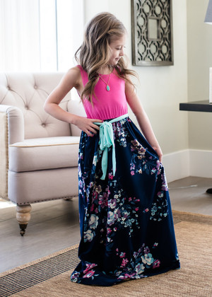Girls Enchanted Pink/Navy Floral Bottom Tank Maxi Tie Dress