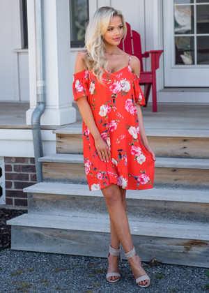 So Lovey Floral Cold Shoulder Dress Tomato Red