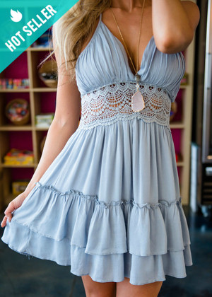 Beautifully Draped Ruffle Lace Crochet Halter Dress Baby Blue
