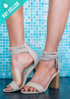 Love When You Walk Strappy Heels Taupe CLEARANCE