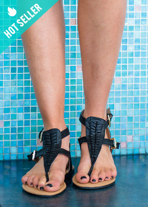 Let Summer Begin Detailed Sandals Black CLEARANCE