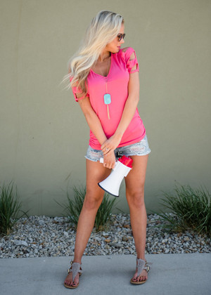 Open Pattern Sleeve Top Coral