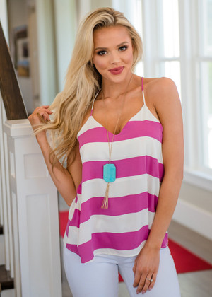 Stripes so Sweet Loose Tank Top Orchid