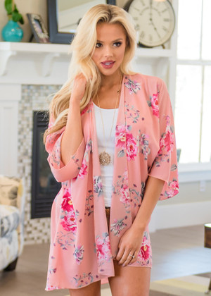 Wouldn't It Be Nice Floral Sheer Kimono Pink CLEARANCE