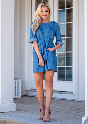 Ruffle Mid Sleeve Chambray Pocket Dress