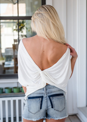 Twisty Knot in Back Dolman Top Off White