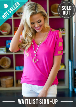Open Pattern Sleeve Top Hot Pink
