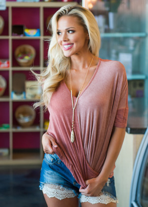 Wrapped Ombre Twisted Drape Top Mauve/Rust