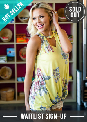 Floral Keyhole And Knot Gathered Hem Detail Twist Top Yellow