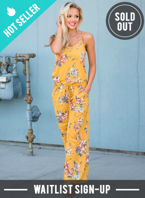 Catch Me in the Sunlight Floral Jumpsuit Mustard