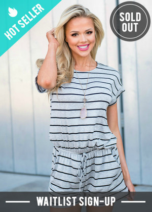 Relaxed in Style Striped Pocket Shorts Romper Gray